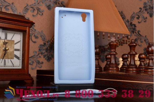 """Необычная уникальная полимерная мягкая задняя панель-чехол-накладка для lenovo p70  """"тематика андроид в черничном шоколаде"""""""