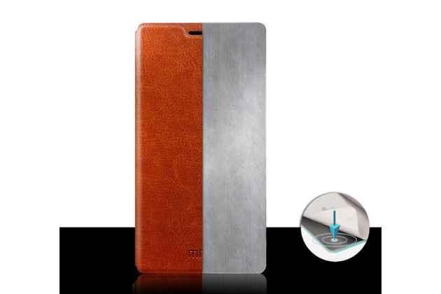 Чехол-книжка из качественной водоотталкивающей импортной кожи на жёсткой металлической основе для lenovo p70 коричневый