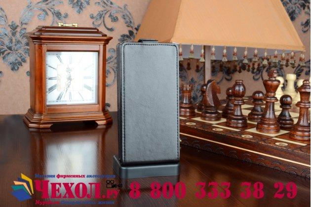 """Вертикальный откидной чехол-флип для lenovo p70 черный кожаный """"prestige"""" италия"""