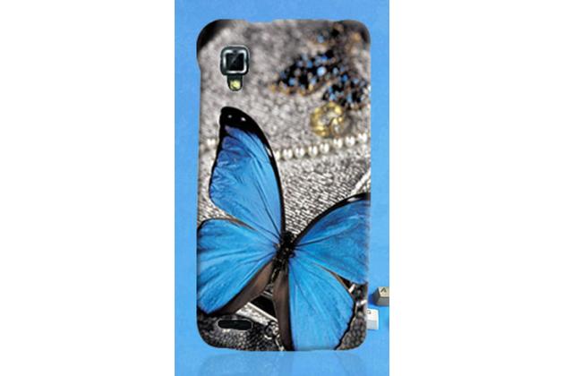 Пластиковая задняя панель-чехол-накладка с безумно красивым расписным рисунком бабочки для lenovo p780