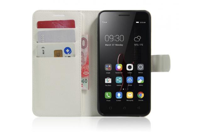 """Чехол-книжка из качественной импортной кожи с мульти-подставкой застёжкой и визитницей для lenovo vibe c (a2020 / a2020a40 dual sim ) 5.0"""" белый"""