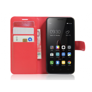 """Чехол-книжка из качественной импортной кожи с мульти-подставкой застёжкой и визитницей для lenovo vibe c (a2020 / a2020a40 dual sim ) 5.0"""" красный"""