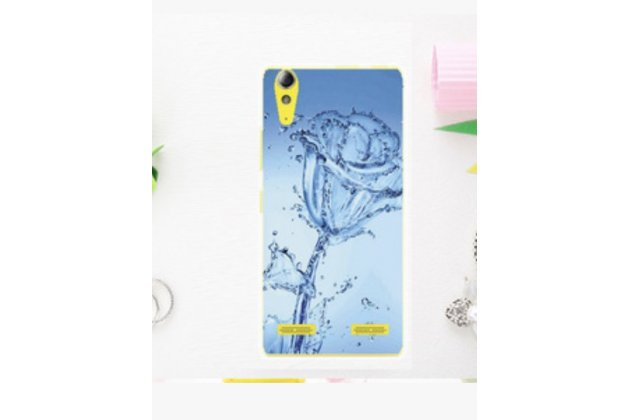 """Необычная уникальная полимерная мягкая задняя панель-чехол-накладка для lenovo a6000/ a6010 plus """"тематика синяя роза"""""""