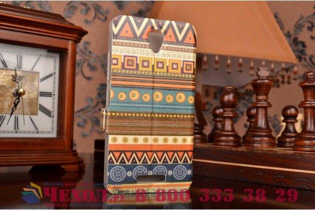 Чехол-книжка с безумно красивым расписным эклектичным узором на lenovo a5000