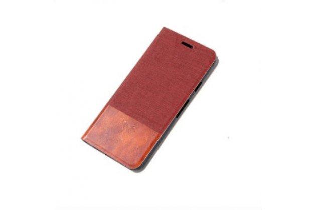 """Чехол-книжка для lenovo phab 2 pb2-650m 6.4"""" красный с коричневой полосой водоотталкивающий"""