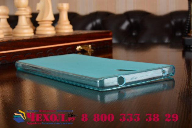 """Ультра-тонкая силиконовая задняя панель-чехол-накладка для lenovo phab 2 pb2-650m 6.4"""" голубая"""