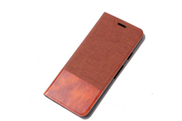 """Чехол-книжка для lenovo phab 2 pb2-650m 6.4"""" коричневый с полосой водоотталкивающий"""