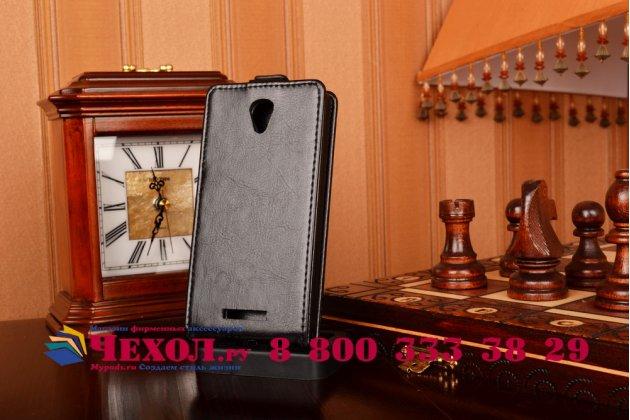 Вертикальный откидной чехол-флип для lenovo a5000 черный кожаный