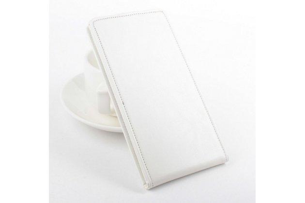 """Вертикальный откидной чехол-флип для lenovo a616 5.5"""" белый из натуральной кожи """"prestige"""" италия"""