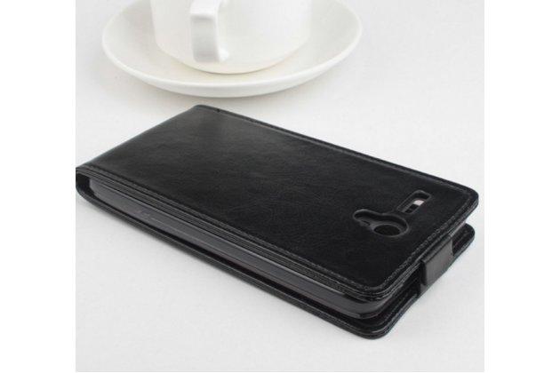 """Вертикальный откидной чехол-флип для lenovo a616 5.5"""" черный из натуральной кожи """"prestige"""" италия"""