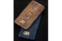 Элегантная экзотическая задняя панель-крышка с фактурной отделкой натуральной кожи крокодила кофейного цвета для lenovo note 8 a936. только в нашем магазине. количество ограничено.