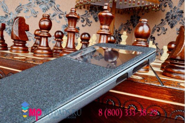 Чехол-книжка для lenovo a936 черный кожаный с окошком для входящих вызовов