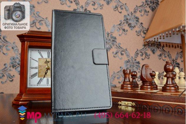 Чехол-книжка из качественной импортной кожи с подставкой для lenovo a936 черный