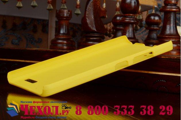 Задняя панель-крышка-накладка из тончайшего и прочного пластика для lenovo k3 music lemon желтая
