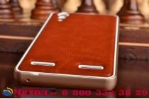 Роскошная элитная премиальная задняя панель-крышка на металлической основе обтянутая импортной кожей для lenovo k3 music lemon королевский коричневый