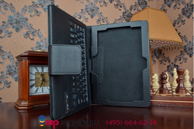 Чехол со съёмной bluetooth-клавиатурой для lenovo thinkpad tablet 10 new z3795 (20c1a00jrt) / gen 2 20e30012rt (intel atom x7 z8700)  черный кожаный + гарантия