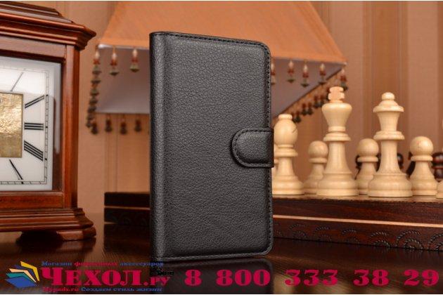 """Чехол-книжка из качественной импортной кожи с мульти-подставкой застёжкой и визитницей для lenovo a1000/ a2800 /a2800d 4.0"""" черный"""