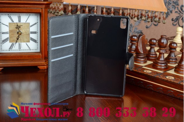 Чехол-книжка из качественной импортной кожи с мульти-подставкой застёжкой и визитницей для lenovo a7000 (леново а7000) черный