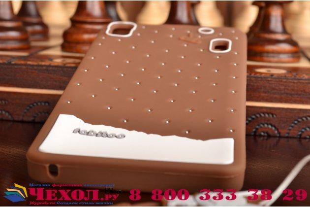 """Необычная уникальная полимерная мягкая задняя панель-чехол-накладка для lenovo k3 note/a7000 """"тематика андроид в тёмном шоколаде"""""""