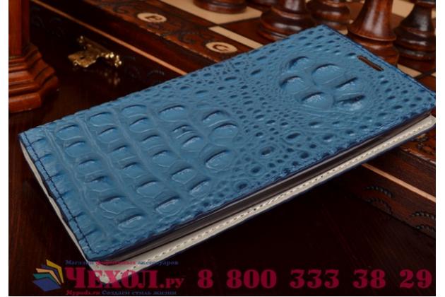 Роскошный эксклюзивный чехол с объёмным 3d изображением рельефа кожи крокодила синий для lenovo ideaphone k900 . только в нашем магазине. количество ограничено