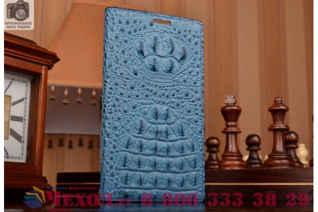 Роскошный эксклюзивный чехол с объёмным 3d изображением рельефа кожи крокодила синий для lenovo k3 music lemon/k30/a6000 . только в нашем магазине. количество ограничено