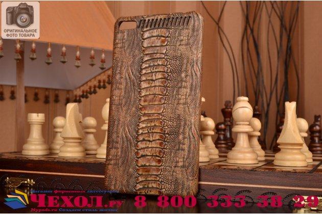"""Элегантная экзотическая задняя панель-крышка с фактурной отделкой натуральной кожи крокодила кофейного цвета для lenovo phab plus pb1-770n/770m 6.8"""" za070019ru . только в нашем магазине. количество ограничено."""