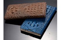 Роскошный эксклюзивный чехол с объёмным 3d изображением кожи крокодила коричневый для lg v10  . только в нашем магазине. количество ограничено