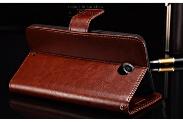 Чехол-книжка из качественной импортной кожи с мульти-подставкой застёжкой и визитницей для моторола нексус 6  коричневый