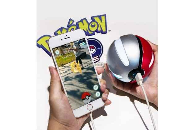 Внешнее портативное зарядное устройство/ аккумулятор в виде покебола pokemon go ёмкостью 10000  mah  пластиковый с led-подсветкой
