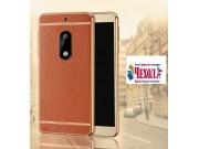 Фирменная премиальная элитная крышка-накладка на Nokia 6 коричневая из качественного силикона с дизайном под к..