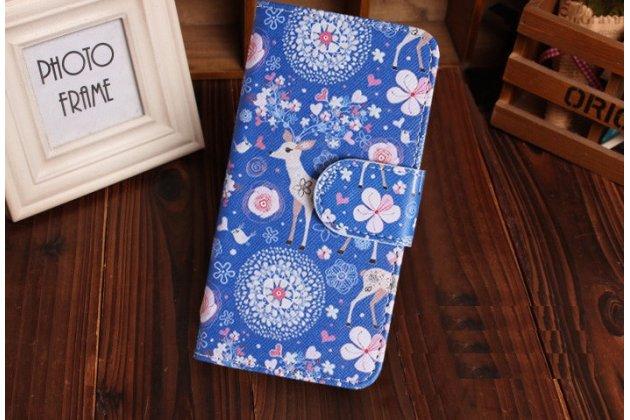 Уникальный необычный чехол-книжка для nokia lumia 1020 тематика олени в цветах