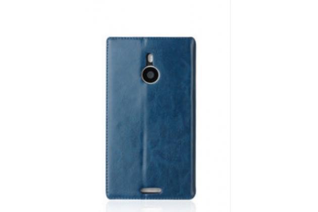 Чехол-книжка из качественной импортной водоотталкивающей кожи с мульти-подставкой и визитницей для nokia lumia 1320 синий