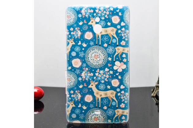 """Роскошная задняя панель-чехол-накладка с безумно красивым расписным узором на nokia lumia 1320 """"тематика олени с цветами"""""""
