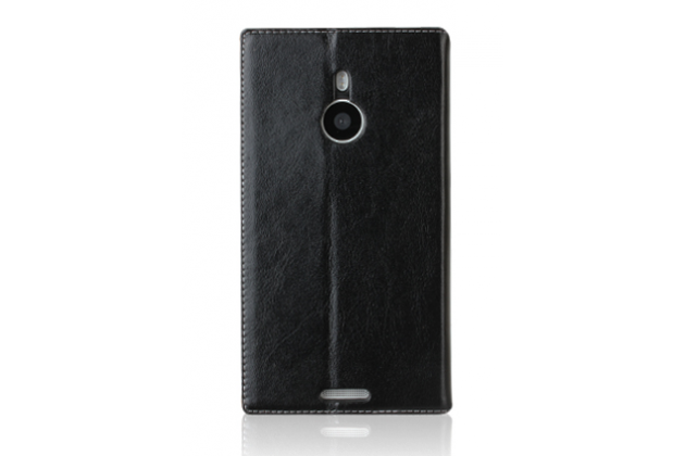 Чехол-книжка из качественной водоотталкивающей импортной кожи на жёсткой металлической основе для nokia lumia 1320 черный