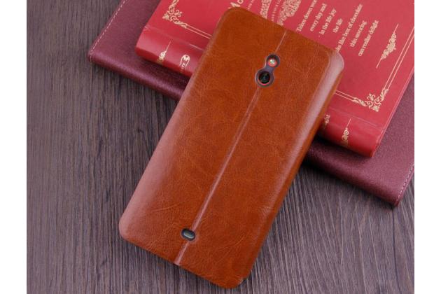 Чехол-книжка из качественной водоотталкивающей импортной кожи на жёсткой металлической основе для nokia lumia 1320 коричневый