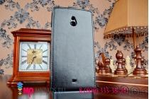 """Вертикальный откидной чехол-флип для nokia lumia 1320 черный из импортной кожи """"prestige"""" италия"""