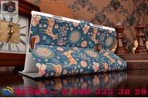 Чехол-книжка с безумно красивым расписным рисунком оленя в цветах на nokia lumia 1520 с окошком для звонков