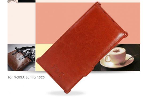 """Чехол открытого типа без рамки вокруг экрана с мульти-подставкой для nokia lumia 1520 коричневый кожаный """"deluxe"""""""