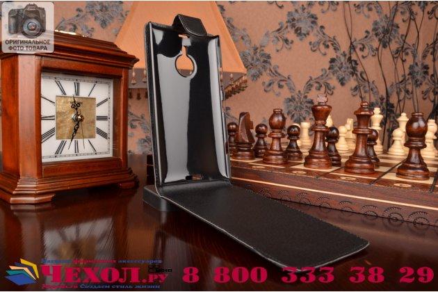 """Вертикальный откидной чехол-флип для nokia lumia 1520 черный кожаный """"prestige"""" италия"""