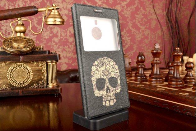 Чехол-книжка с безумно красивым расписным рисунком черепа на nokia lumia 1520 с окошком для звонков