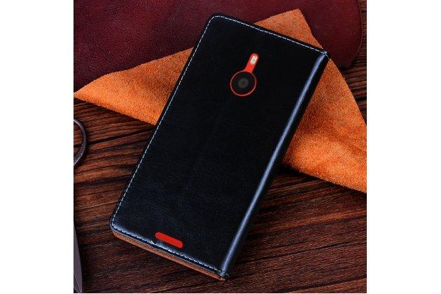 Чехол-книжка из качественной водоотталкивающей импортной кожи на жёсткой металлической основе для nokia lumia 1520 черный