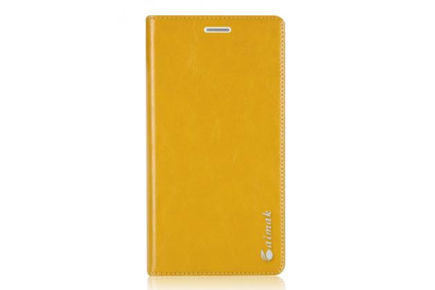 Чехол-книжка  из качественной импортной кожи с мультиподставкой для nokia lumia 1520 желтый
