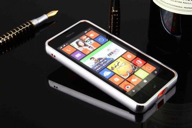Металлическая задняя панель-крышка-накладка из тончайшего облегченного авиационного алюминия для nokia lumia 630/635/636 dual sim серебристая