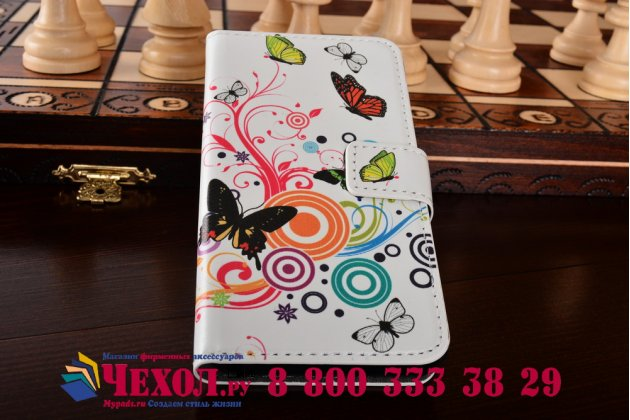 """Уникальный необычный чехол-книжка для nokia lumia 630 dual sim  """"тематика радужные бабочки"""""""
