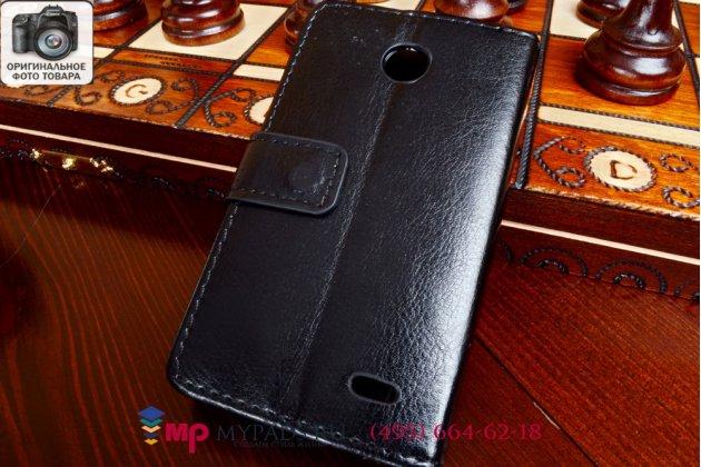 """Чехол-книжка из качественной импортной кожи для nokia lumia 630 dual sim черный натуральная кожа """"prestige"""" италия"""