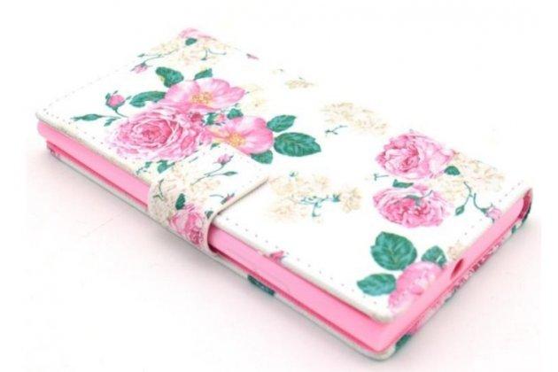 """Уникальный необычный чехол-книжка для nokia lumia 730 dual sim """"тематика  цветы"""""""