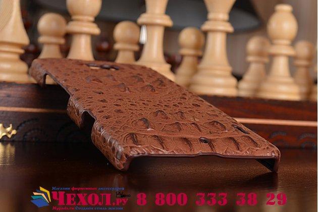 Элегантная экзотическая задняя панель-крышка с фактурной отделкой натуральной кожи крокодила кофейного цвета для nokia lumia 930 . только в нашем магазине. количество ограничено.