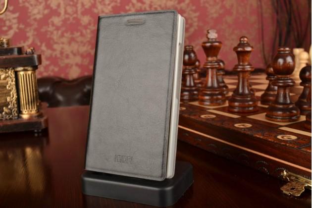 Чехол-книжка  для nokia x2 dual sim из качественной водоотталкивающей импортной кожи на жёсткой металлической основе черного цвета