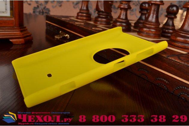 Задняя панель-крышка-накладка из тончайшего и прочного пластика для nokia lumia 1020 желтая