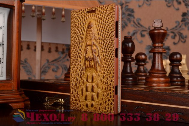 Роскошный эксклюзивный чехол с объёмным 3d изображением кожи крокодила коричневый для nokia lumia 1020 . только в нашем магазине. количество ограничено